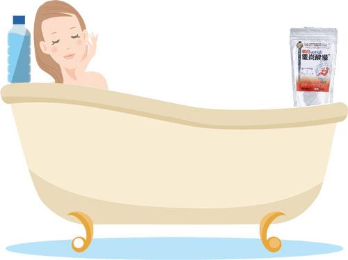 薬用ホットタブ重炭酸湯に入浴中の女性